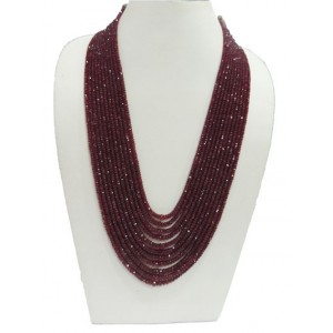 Ruby Button Faceted Beads