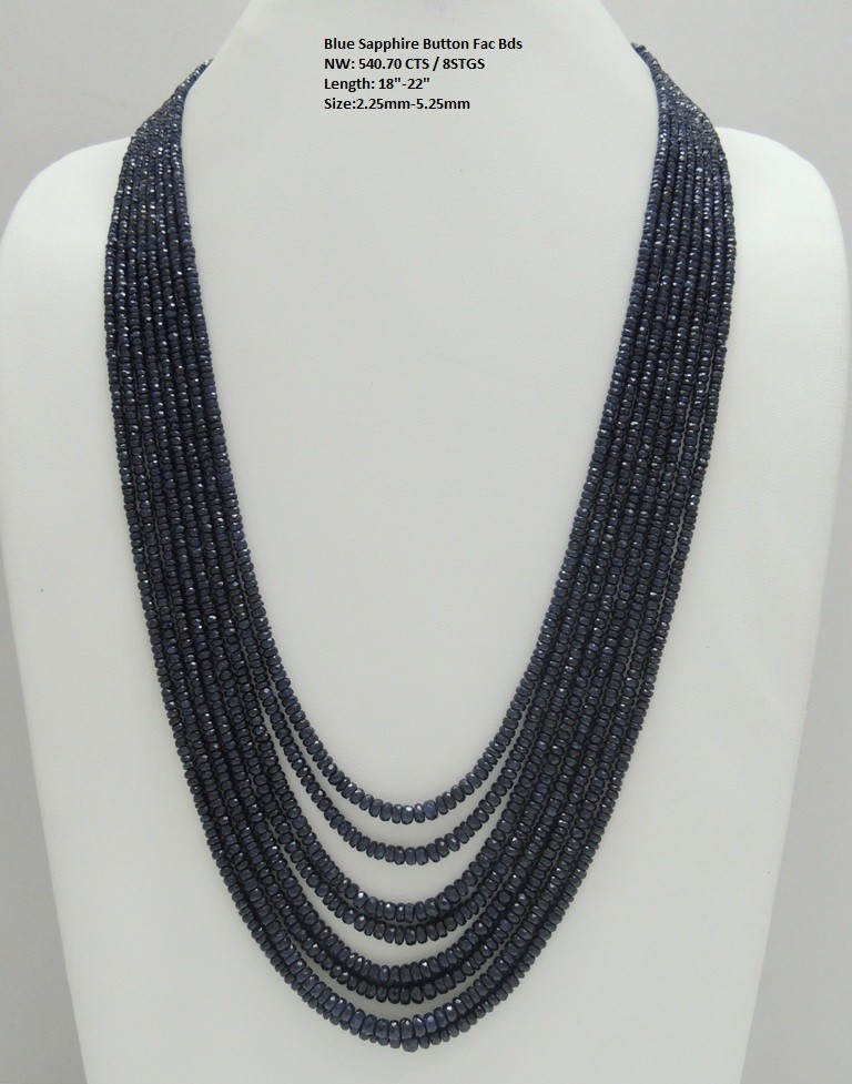 Blue Sapphire Button Faceted Beads