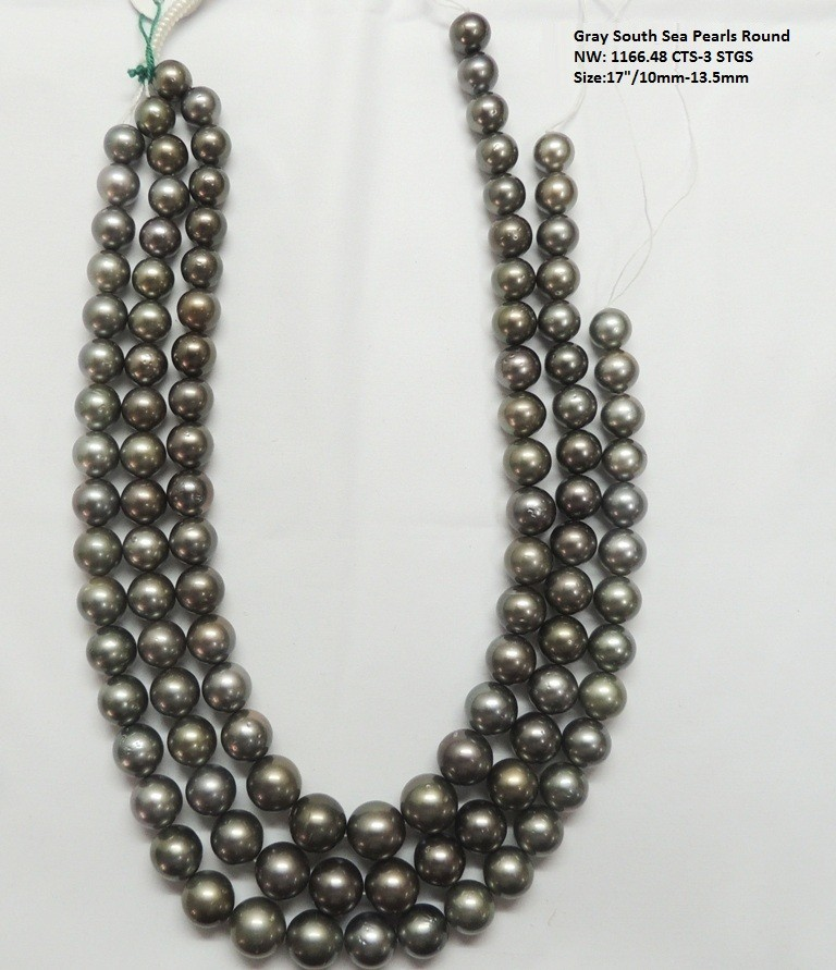 Gray South Sea Round Pearls Necklace (Tahitian)