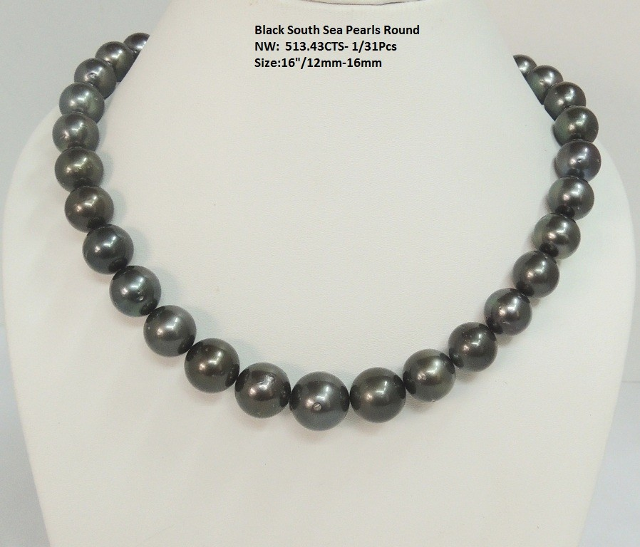 Black South Sea Round Pearls Necklace (Tahitian)