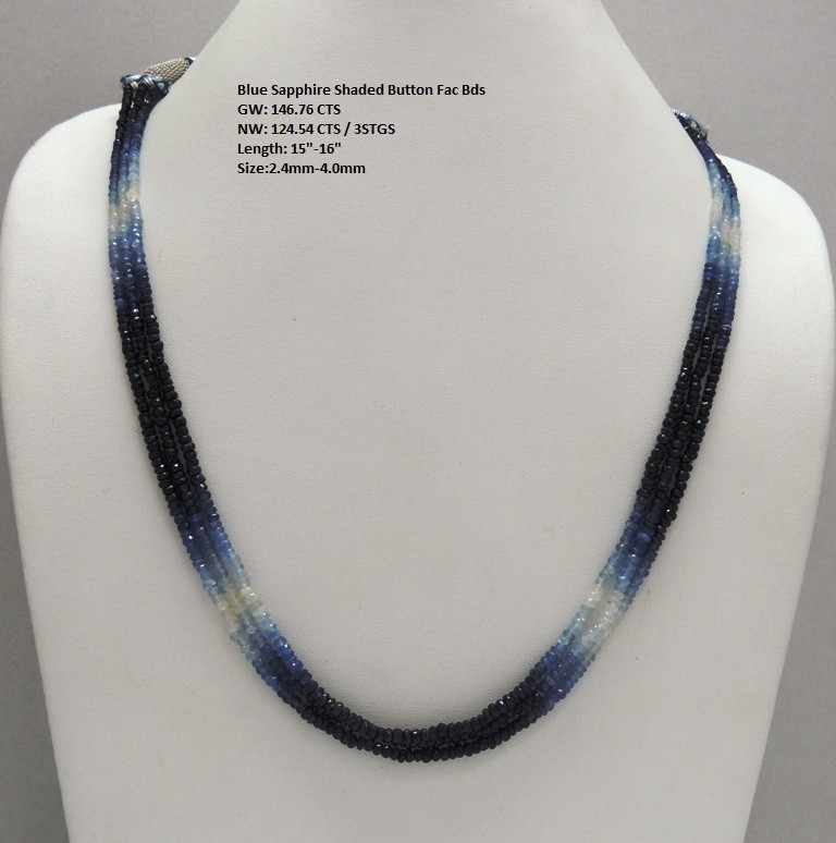 Blue Sapphire Sheded Button Faceted Beads