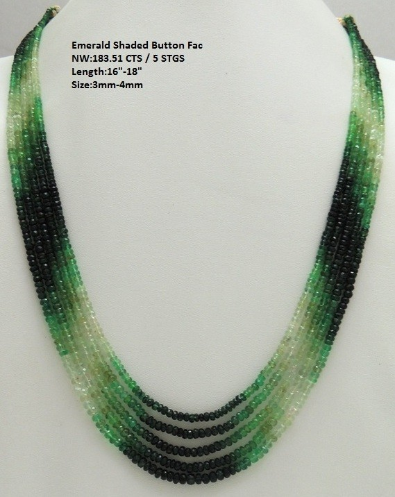 Emerald Shaded Button Fac Beads