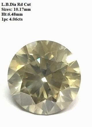 Light Brown Round Diamond Cut 4 cts