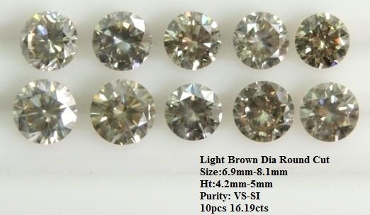 Light Brown Diamond Round Cut