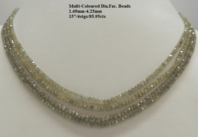 Multi-Coloured Diamond Faceted Beads