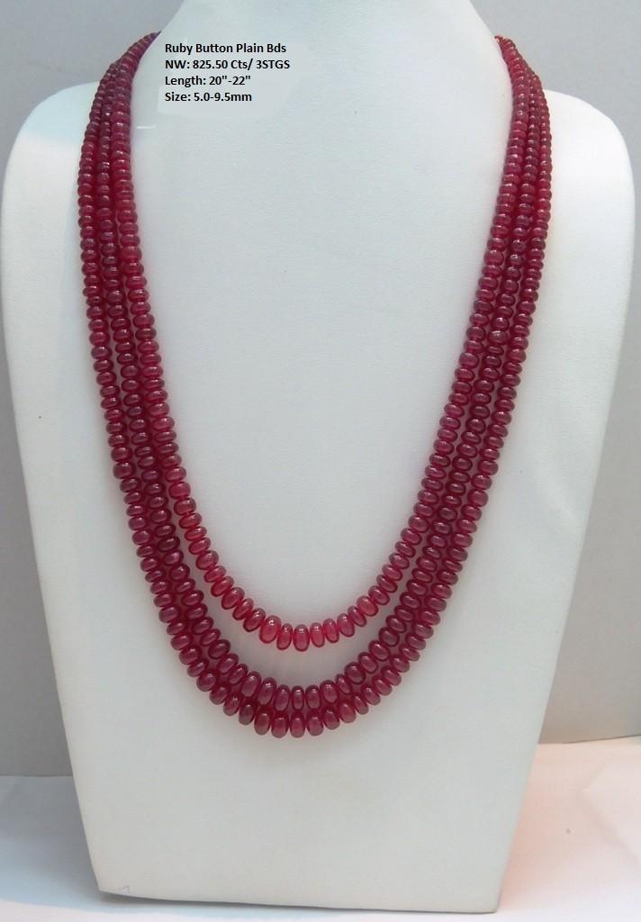 Ruby Button Plain Beads
