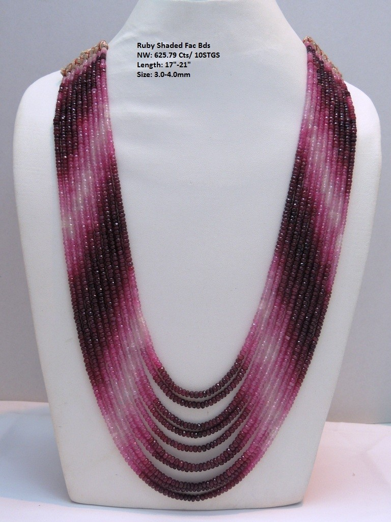 Ruby Shedded Button Faceted Beads