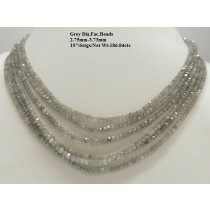 Grey Diamond Faceted Beads