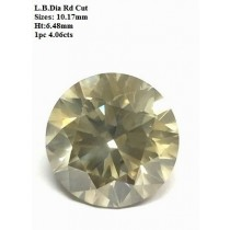 Light Brown Round Diamond Cut 4 cts