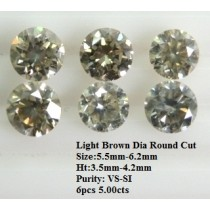 Light Brown Diamond Round Cut