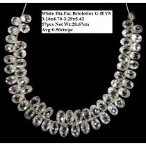 White Diamond Faceted Briolettes